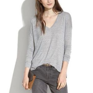 EUC MADEWELL ANTHEM HEATHER GREY LS SHEER TOP